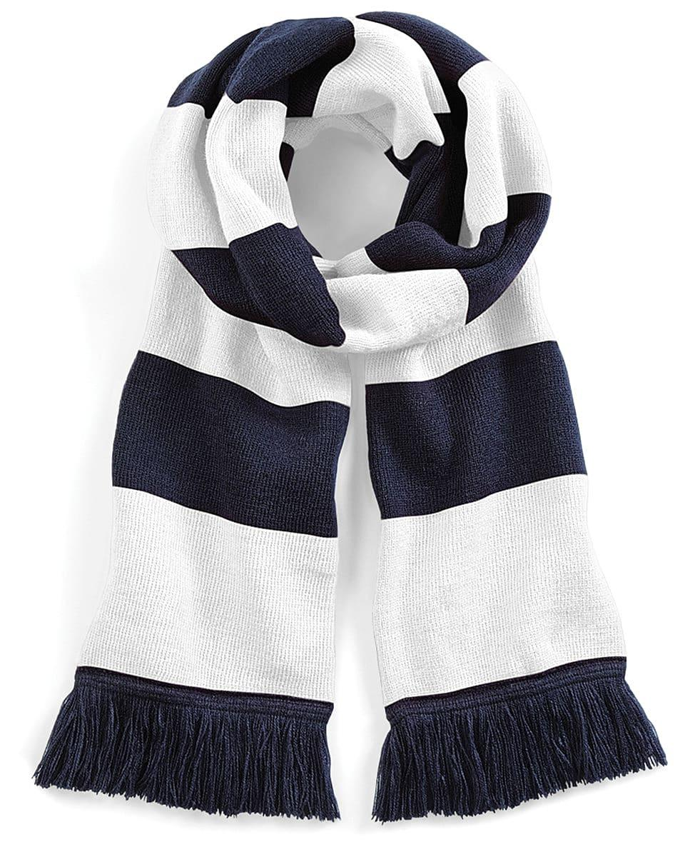 Beechfield Varsity Scarf in French Navy / White (Product Code: B479)