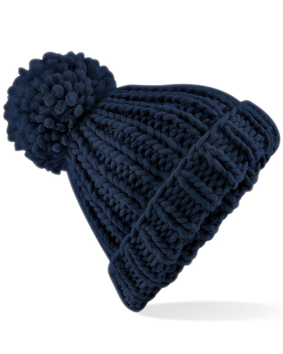 Beechfield Oversized Knitted Beanie Hat in French Navy (Product Code: B483)