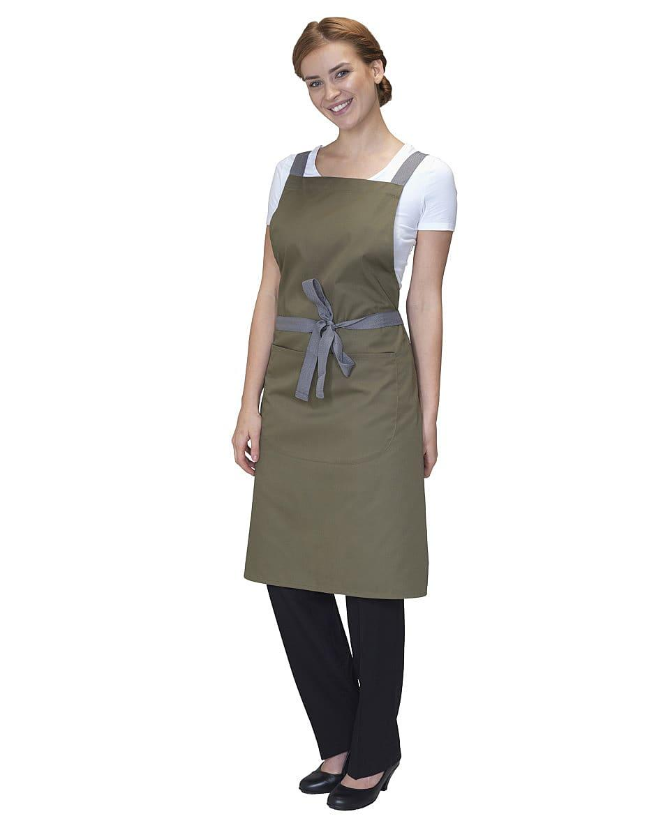 Dennys Cross Back Apron in Olive (Product Code: DP130)