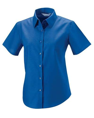 Russell Collection Womens Short-Sleeve Easy Care Oxford Shirt