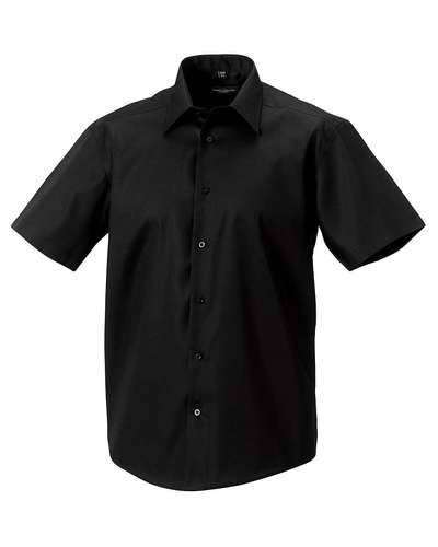 Russell Collection Mens Short-Sleeve Tailored Ultimate Non-Iron Shirt