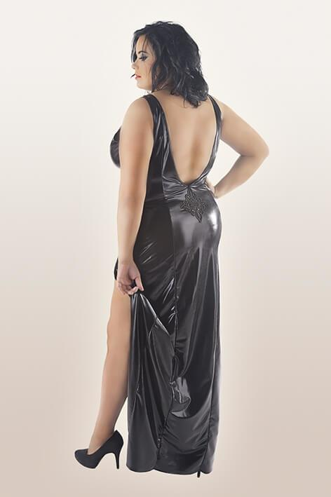 Plus Size Long Black Wet-Look Nightdress rear view