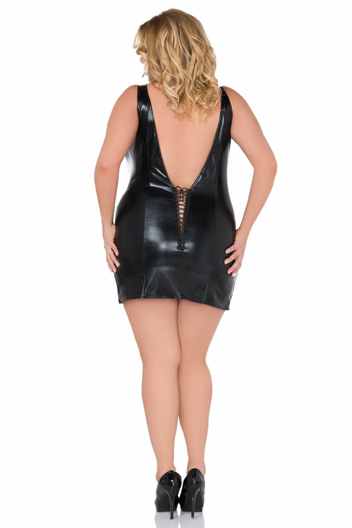 Wet Look Plus Size Chemise with V back