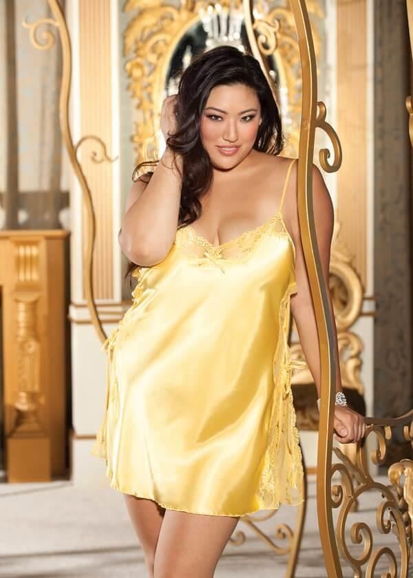 Yellow Charmeuse Babydoll With Side Closure