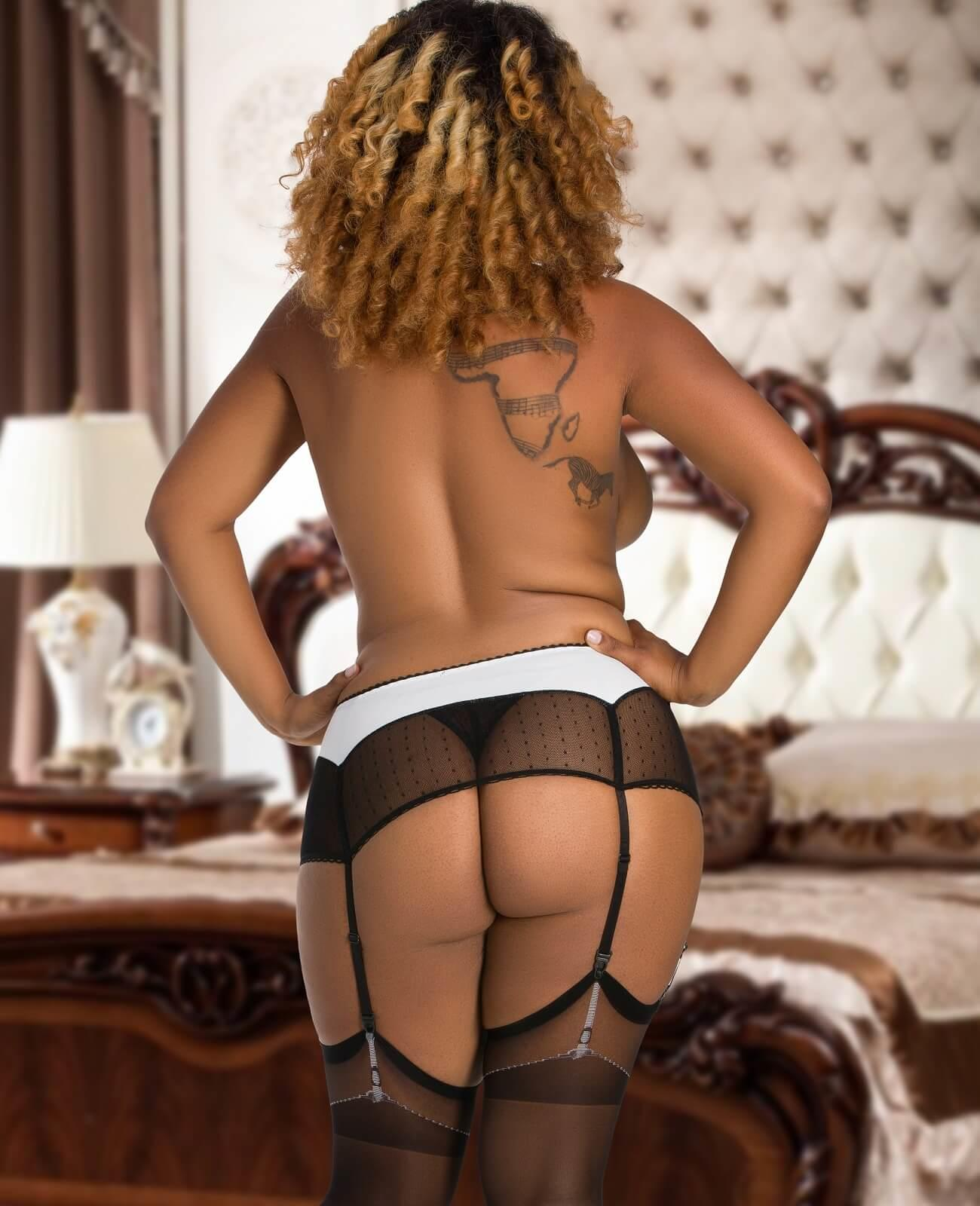 Vinyl & Mesh Suspender Belt rear view