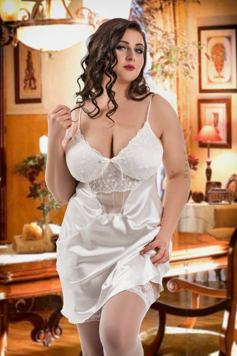 White Frida Satin Babydoll With Pockets