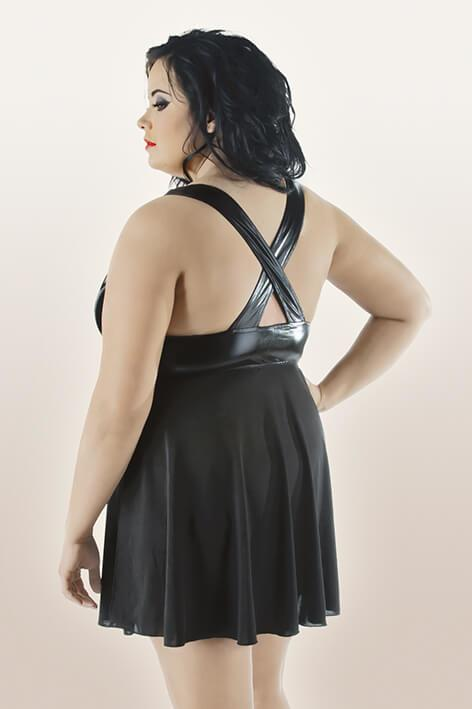 Plus Size Side Split Black Babydoll rear view
