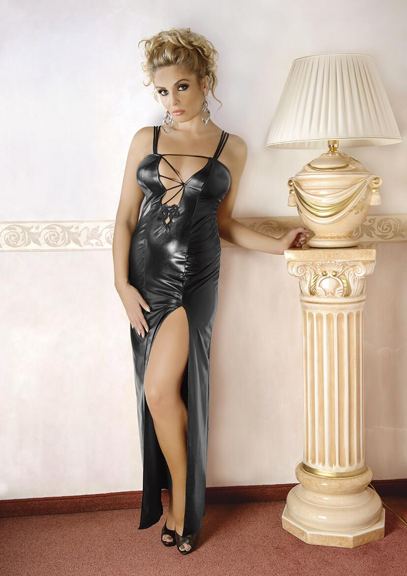 Plus Size Long Black Wet Look Nightgown