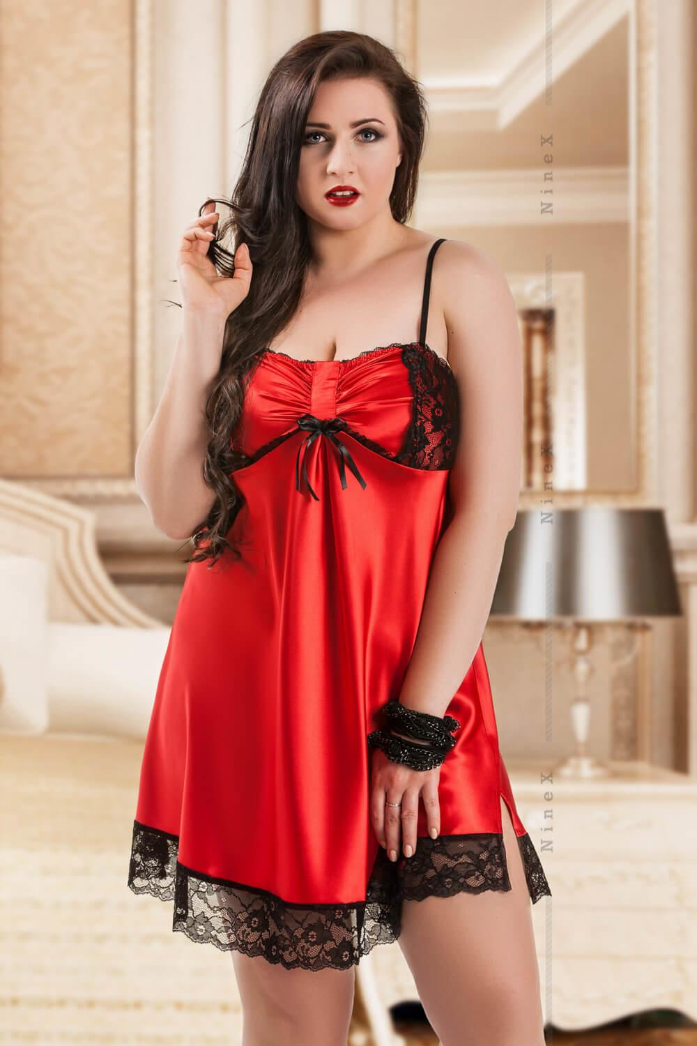 Red Gala Satin Babydoll