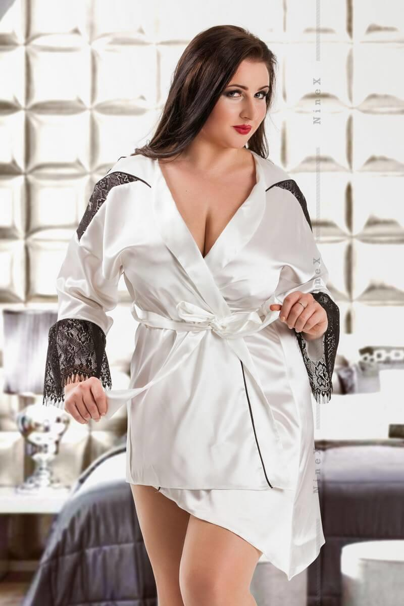 White Premier Satin & Lace Short Robe