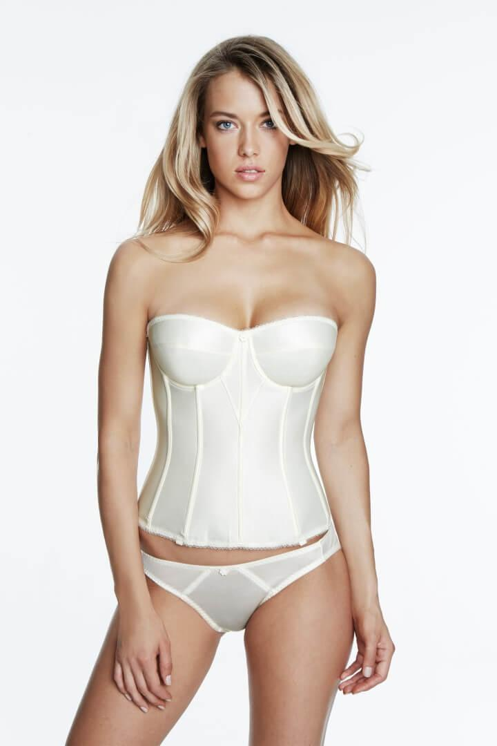 Plus Size Satin Strapless Basque ivory
