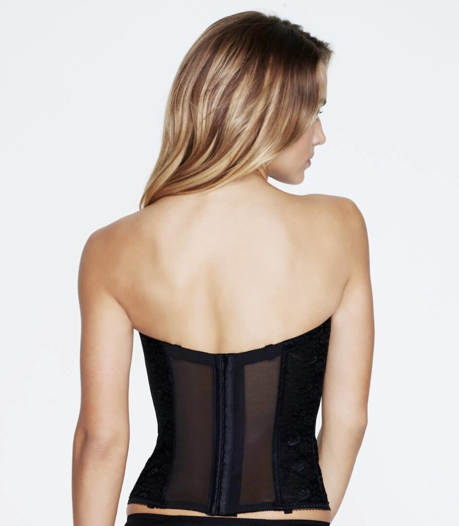 Rear view Black Strapless Bridal Basque
