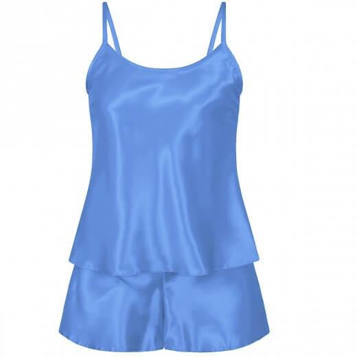 Light Blue Satin Cami & Shorts
