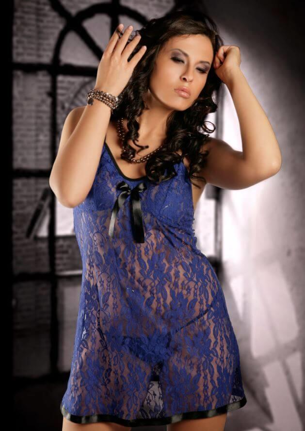 Blue Stretch Lace Babydoll