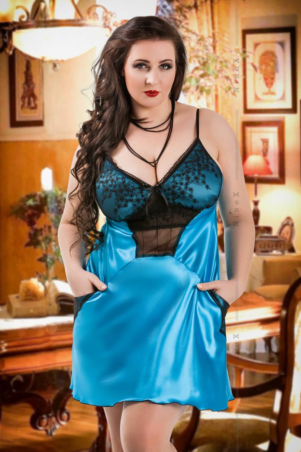 Turquoise Frida Satin Babydoll With Pockets