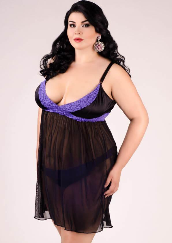 Purple & Black Plus Size Chemise