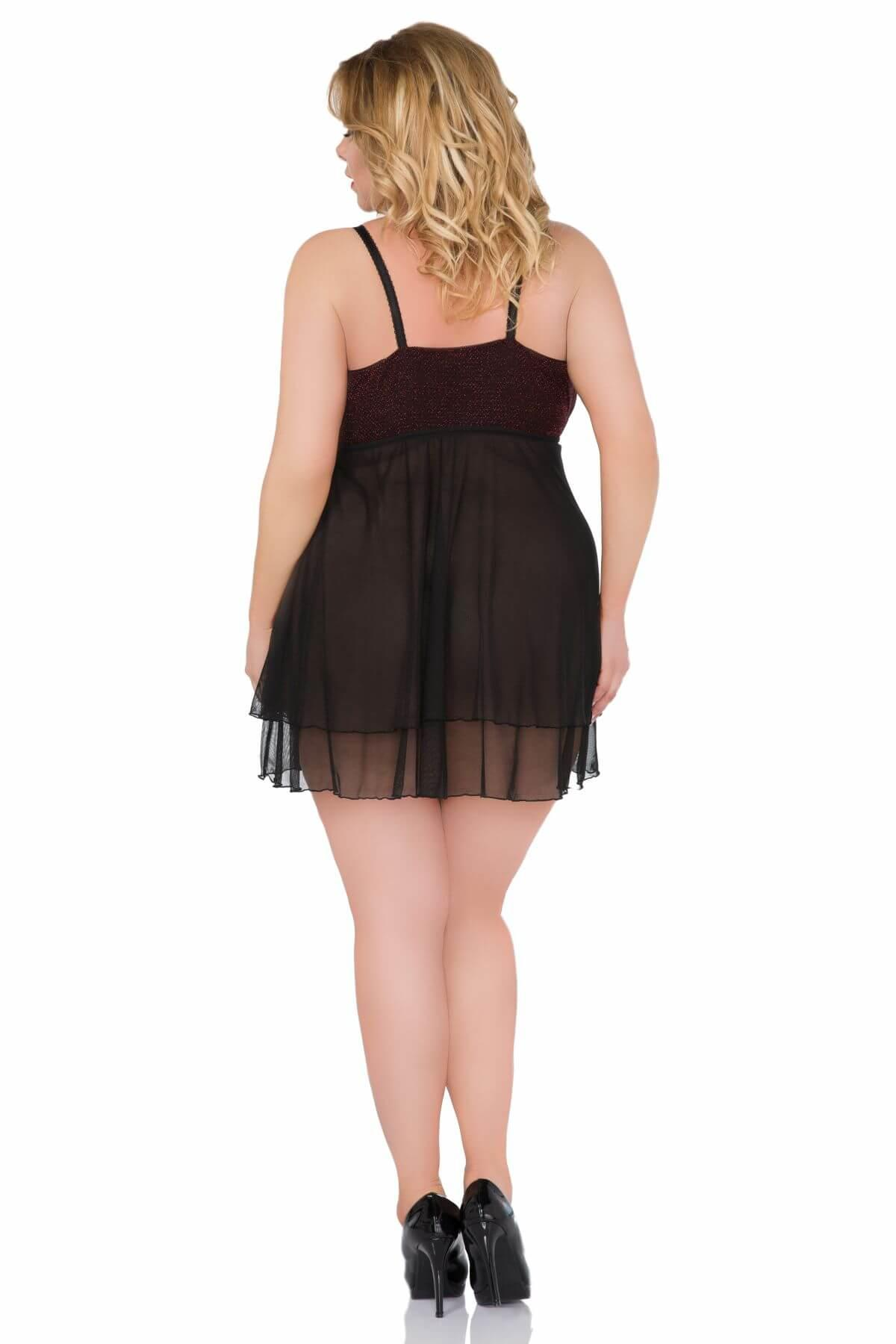 Sheer Black Plus Size Babydoll rear view
