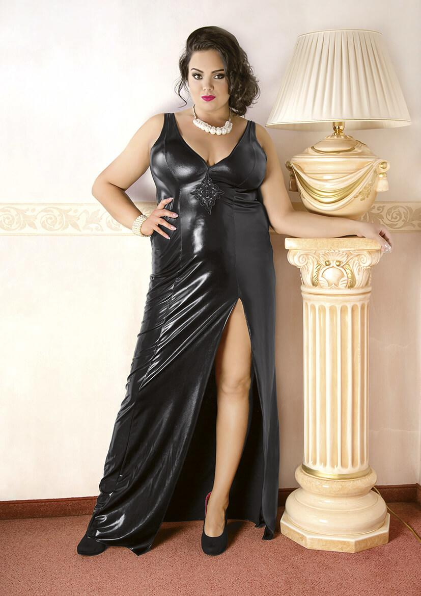 Plus Size Long Black Wet-Look Nightdress