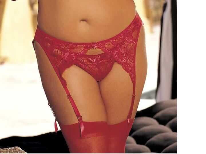 Red Plus Size Lace Suspender Belt