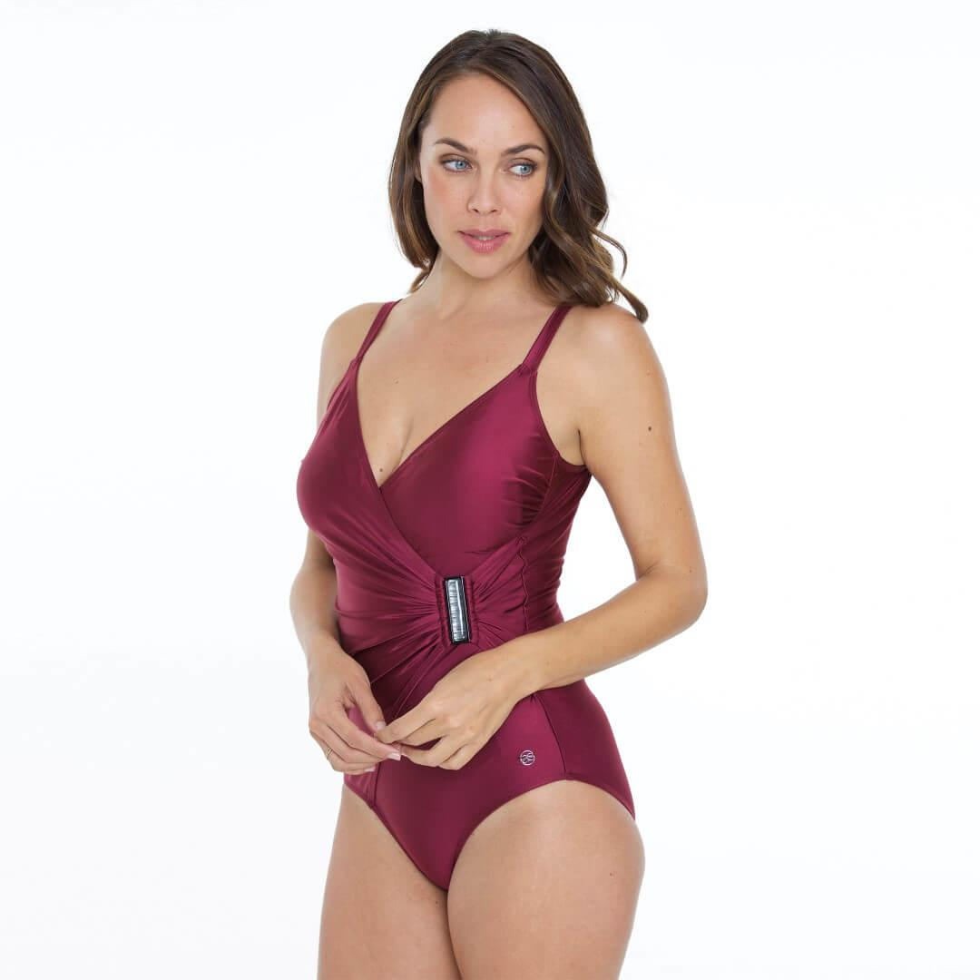 Just Colour Long Length Swimsuit Claret