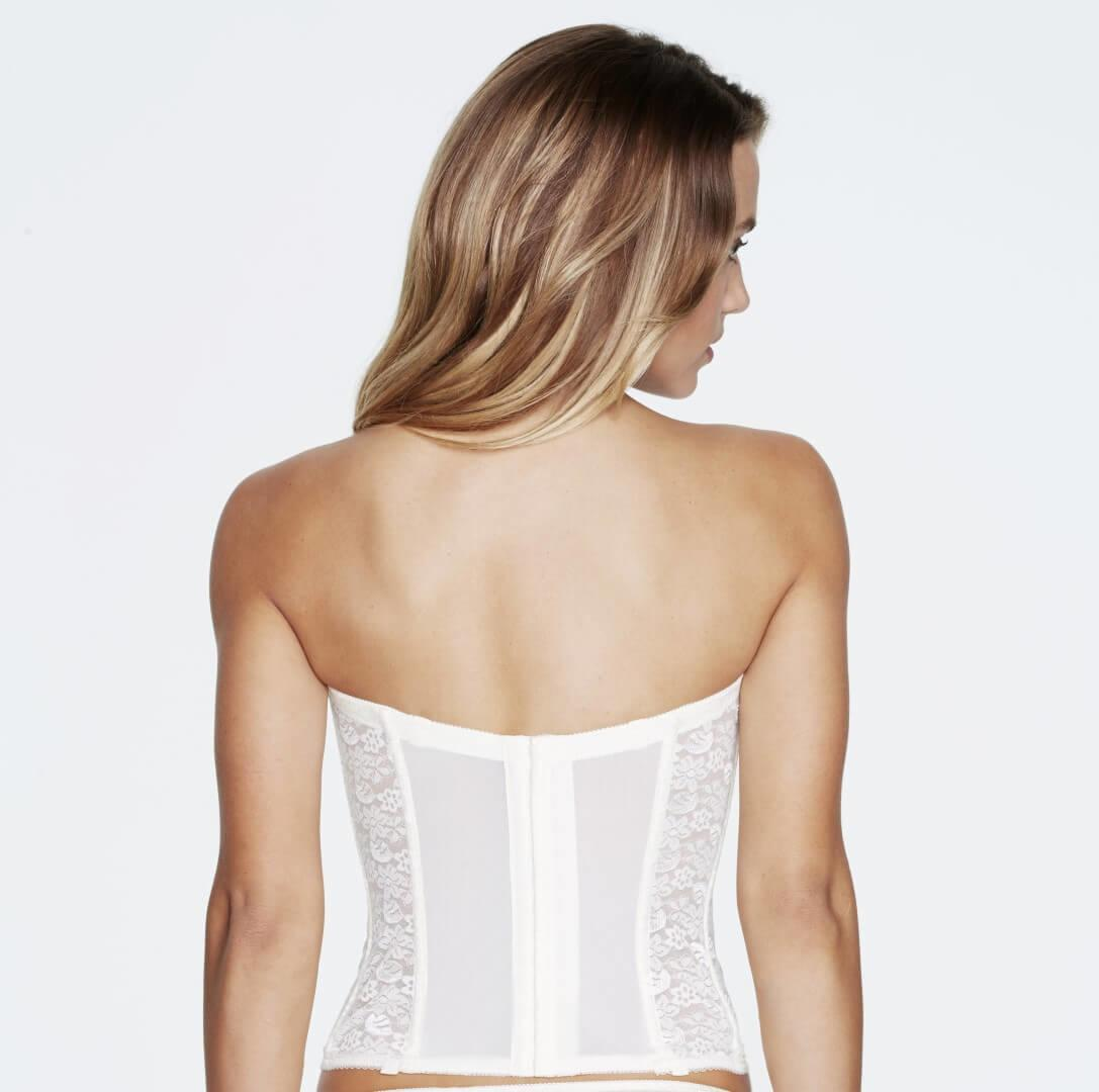 Rear view Ivory Low Back Strapless Bridal Basque