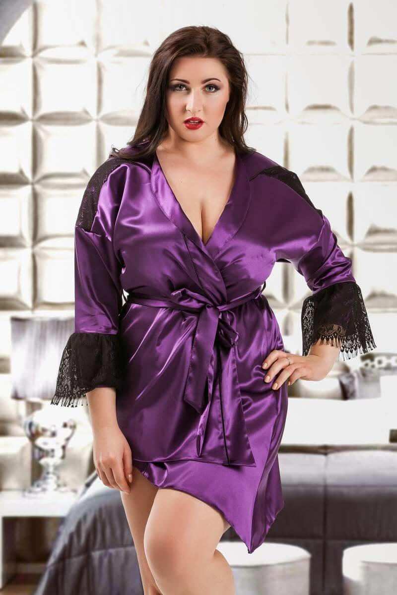 Purple Premier Satin & Lace Short Robe
