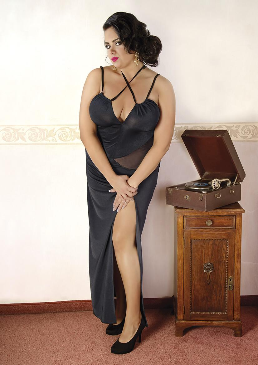 Plus Size Long Black Nightgown