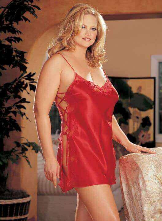 Red Charmeuse Babydoll With Side Closure