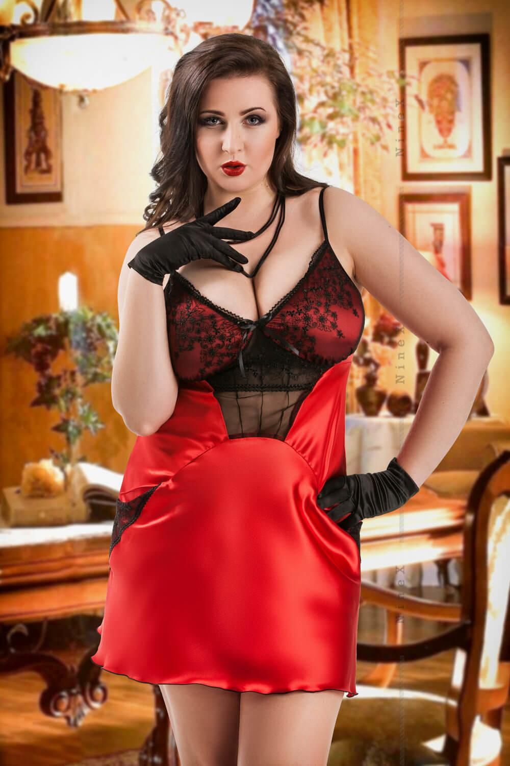 Red Frida Satin Babydoll With Pockets