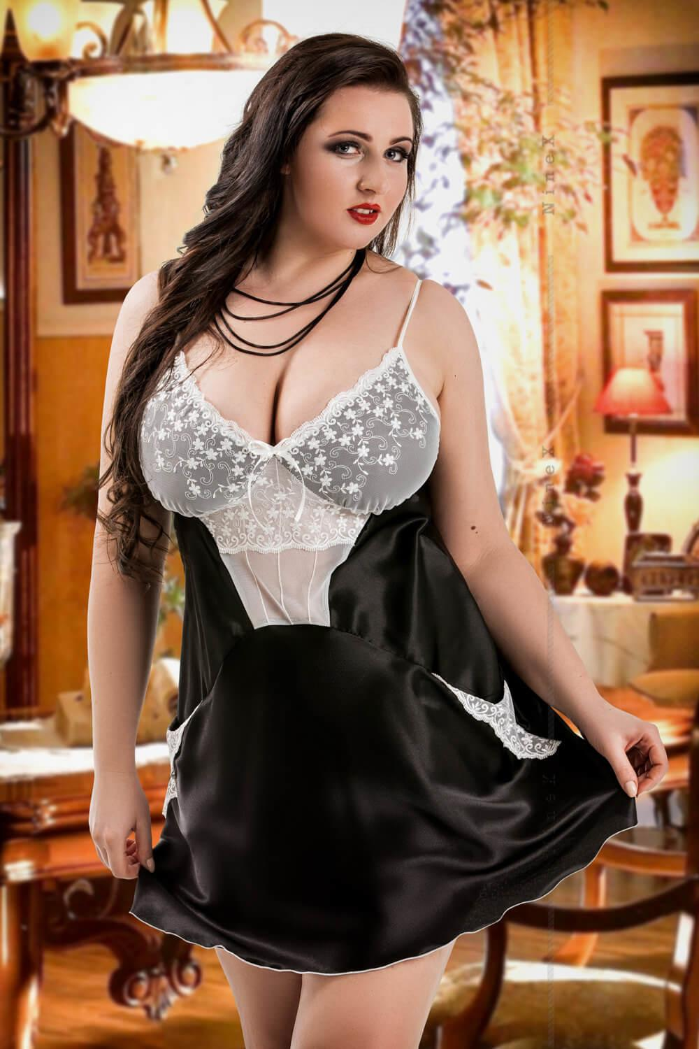 Black Frida Satin Babydoll With Pockets