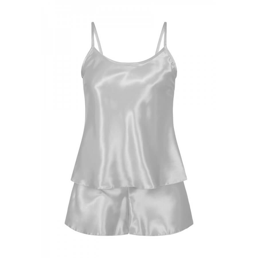 Silver Satin Cami & Shorts