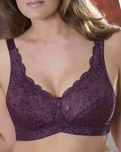 Purple Stretch Lace Non Wired Bra