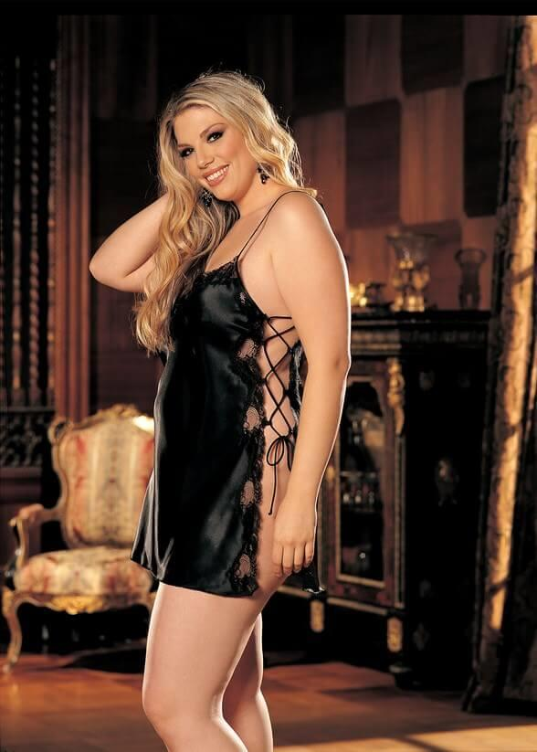 Black Charmeuse Babydoll With Side Closure