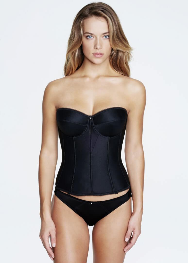 Plus Size Satin Strapless Basque black
