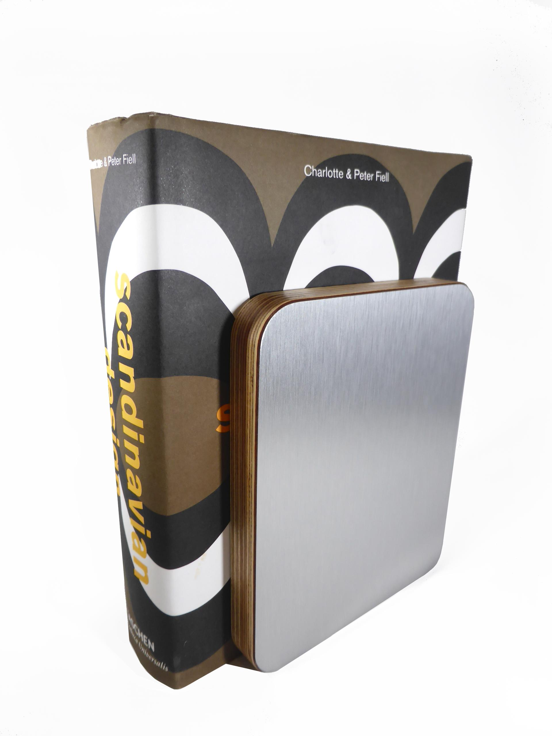 Metal Finish Bookend - Brushed Stainless Steel 02