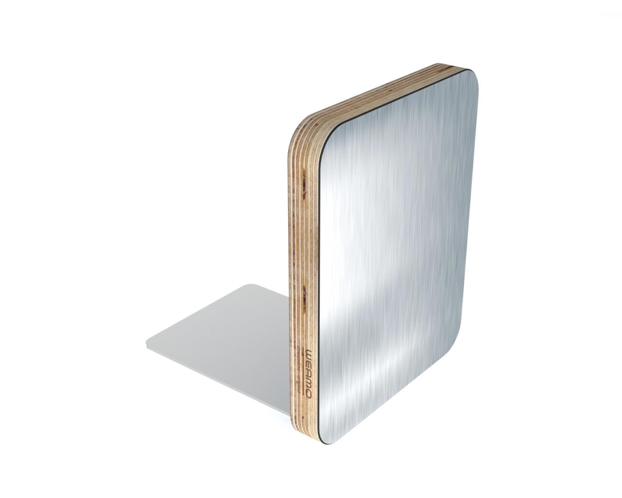 Metal Finish Bookend - Brushed Stainless Steel