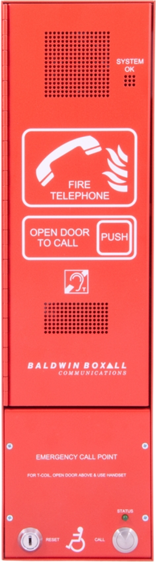 Baldwin Boxall OmniCare BVOCC Combined Type-A & Type B-Outstation Disabled Refuge & Fire Telephone Push Door Red