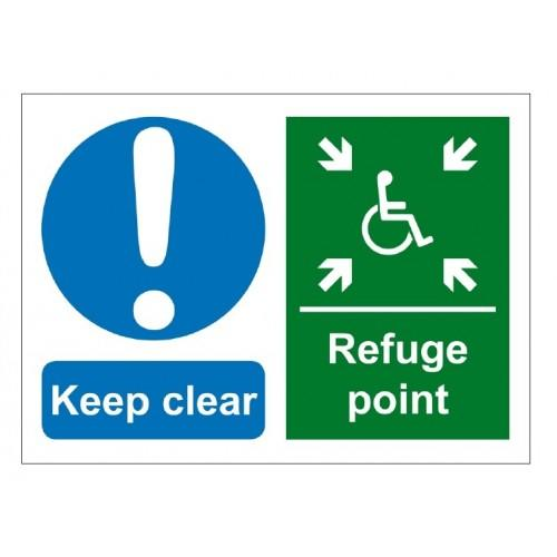 Baldwin Boxall BVOCLAB3 Self Adhesive Vinyl Keep Clear Refuge Point Sign Green
