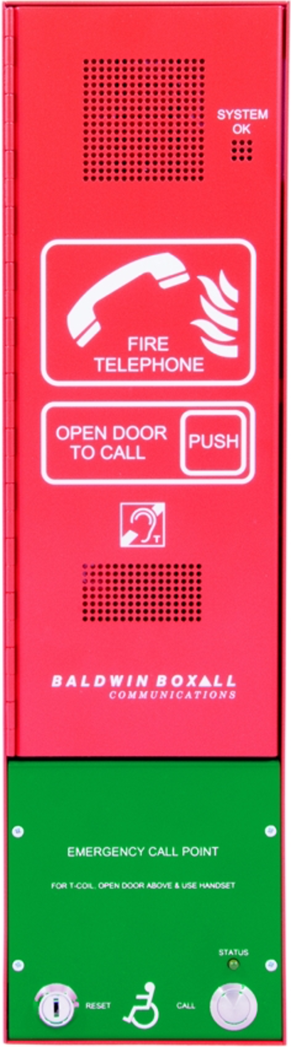 Baldwin Boxall OmniCare BVOCCGCP Combined Type-A & Type-B Outstation Disabled Refuge Green & Fire Telephone Push Door Red