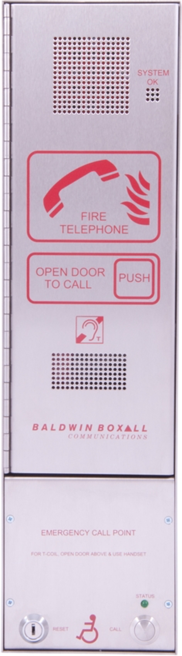 Baldwin Boxall OmniCare BVOCCSP Combined Type-A & Type-B Outstation Disabled Refuge & Fire Telephone Push Door Stainless Steel