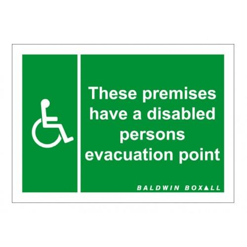 Baldwin Boxall BVOCLAB2 Self Adhesive Vinyl Disabled Refuge Premises Sign Green