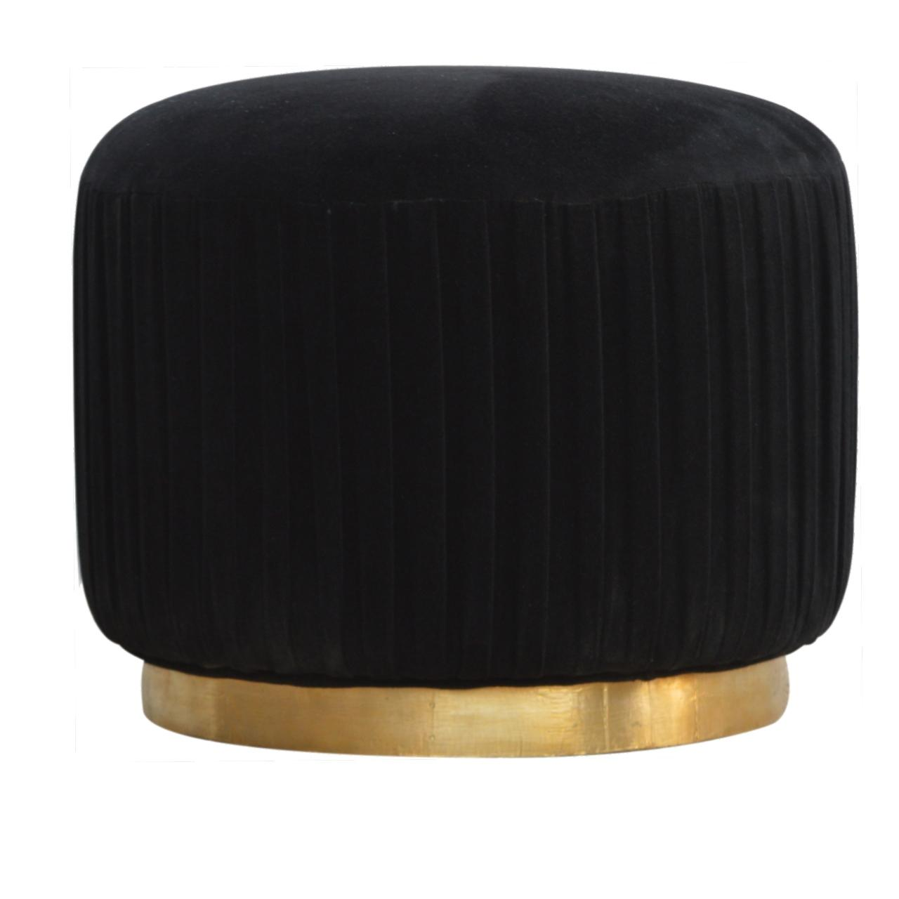 Black Cotton Velvet Pleated Footstool With Gold Base