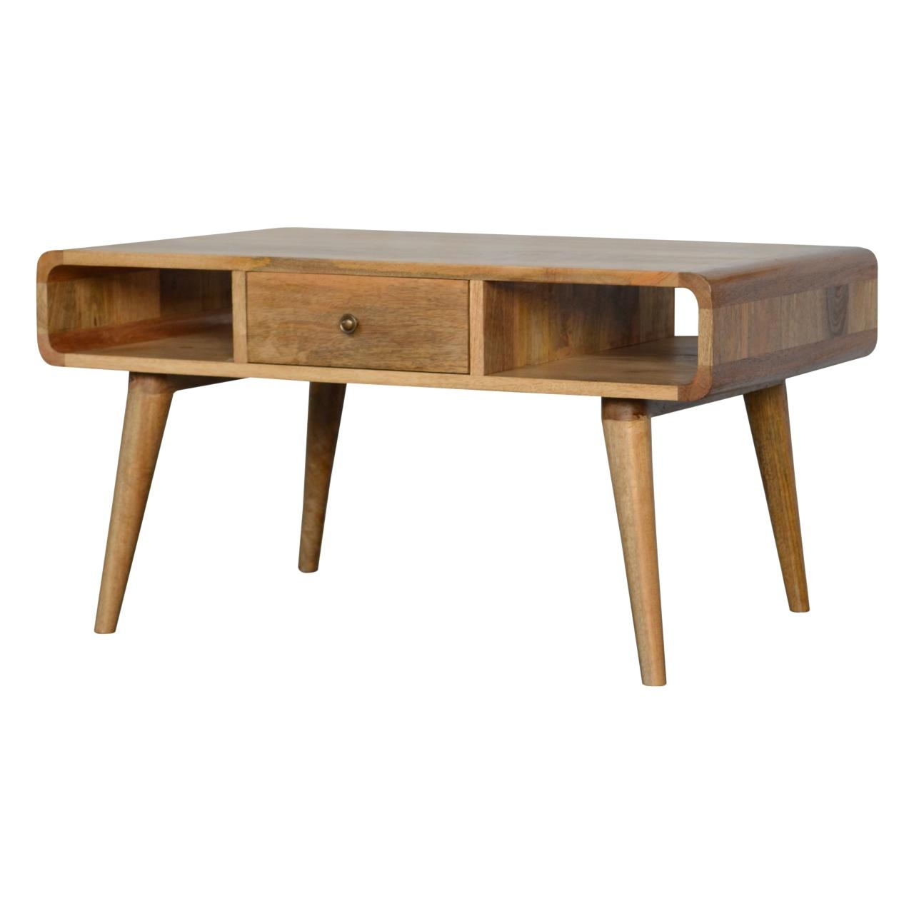 Curved Oak Ish Coffee Table