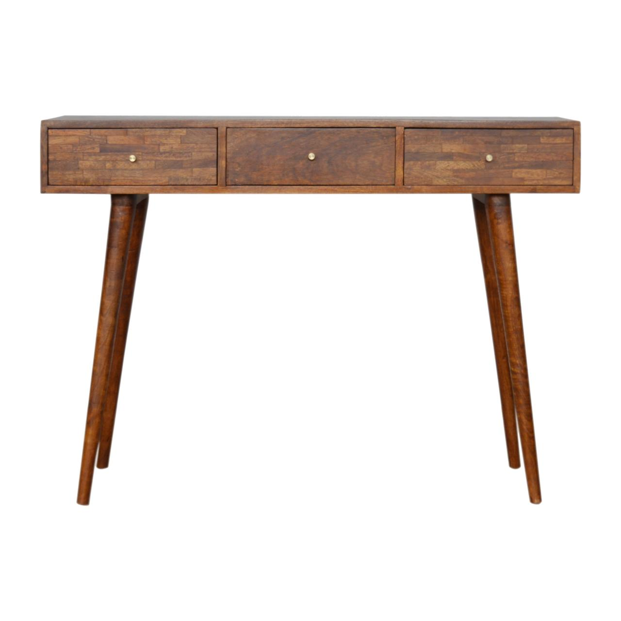 3 Drawer Mixed Chestnut Console Table