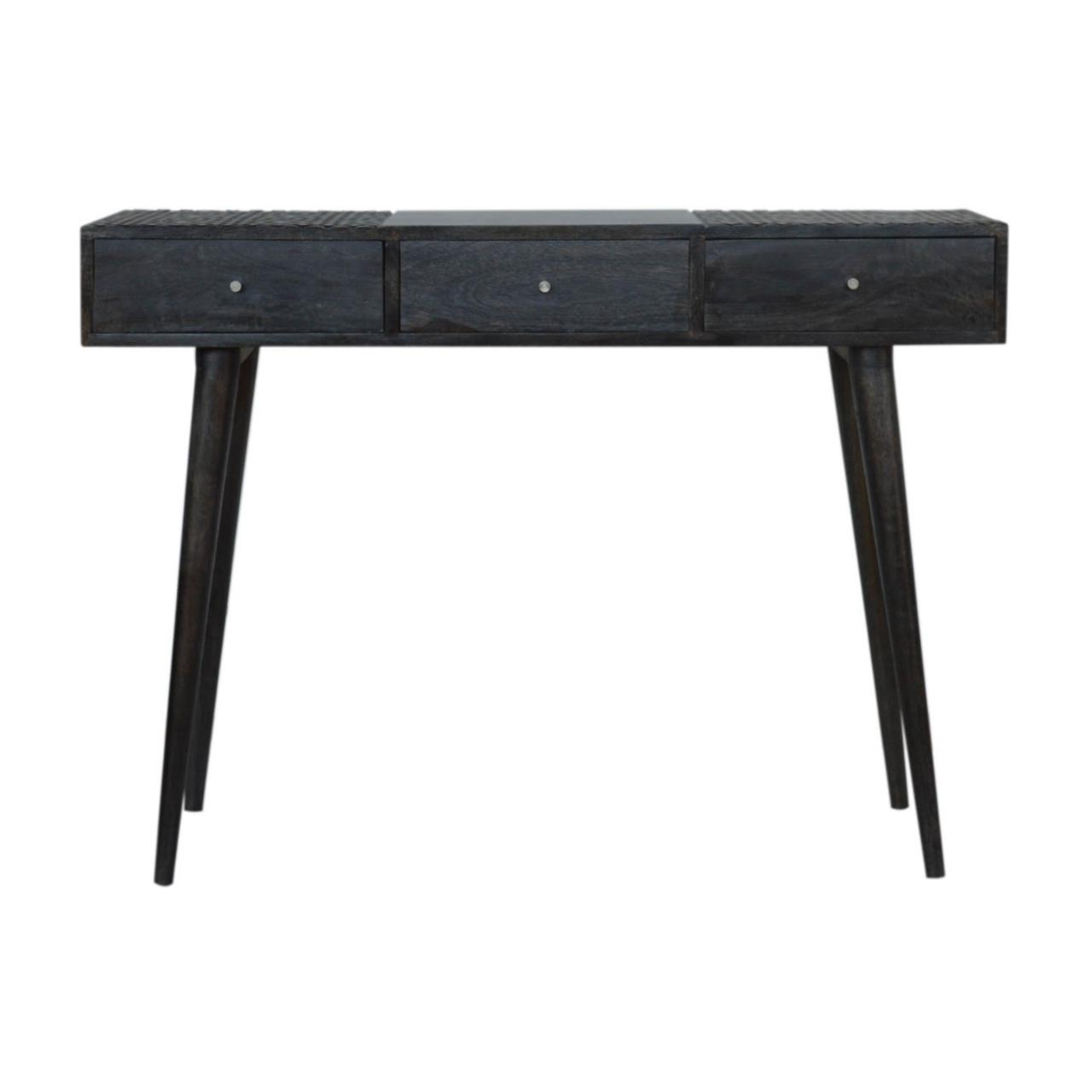 Ash Black 3 Drawer Console Table