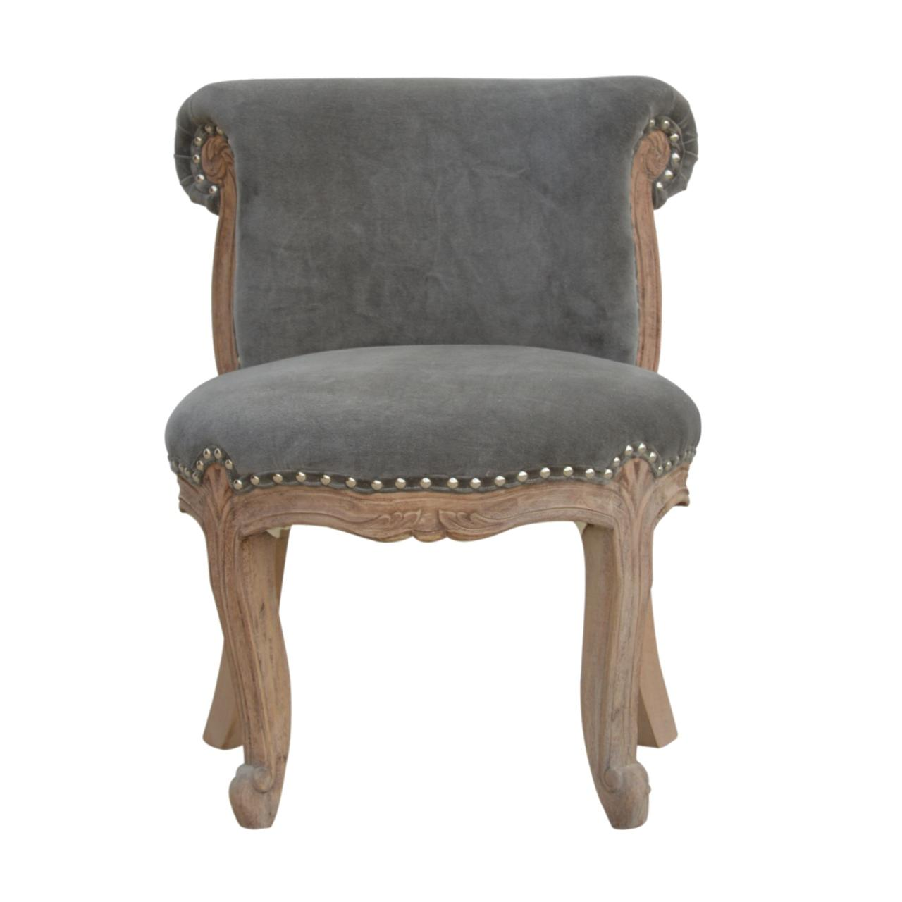 Grey Velvet Studded Chair