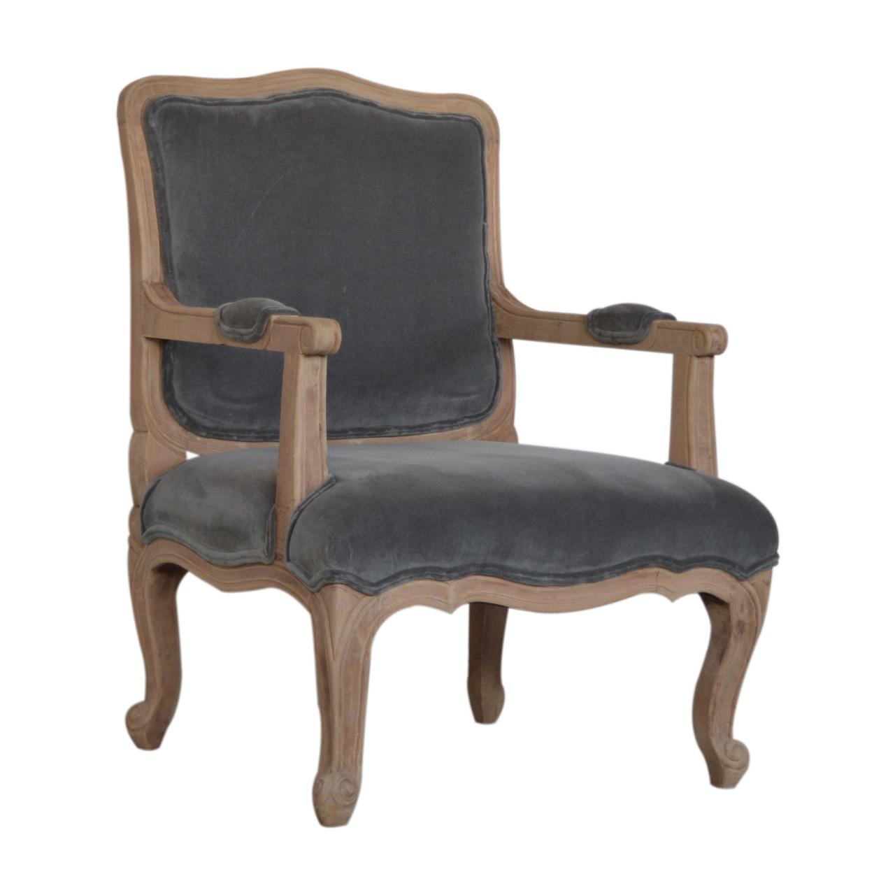 Grey Velvet French Style Chair