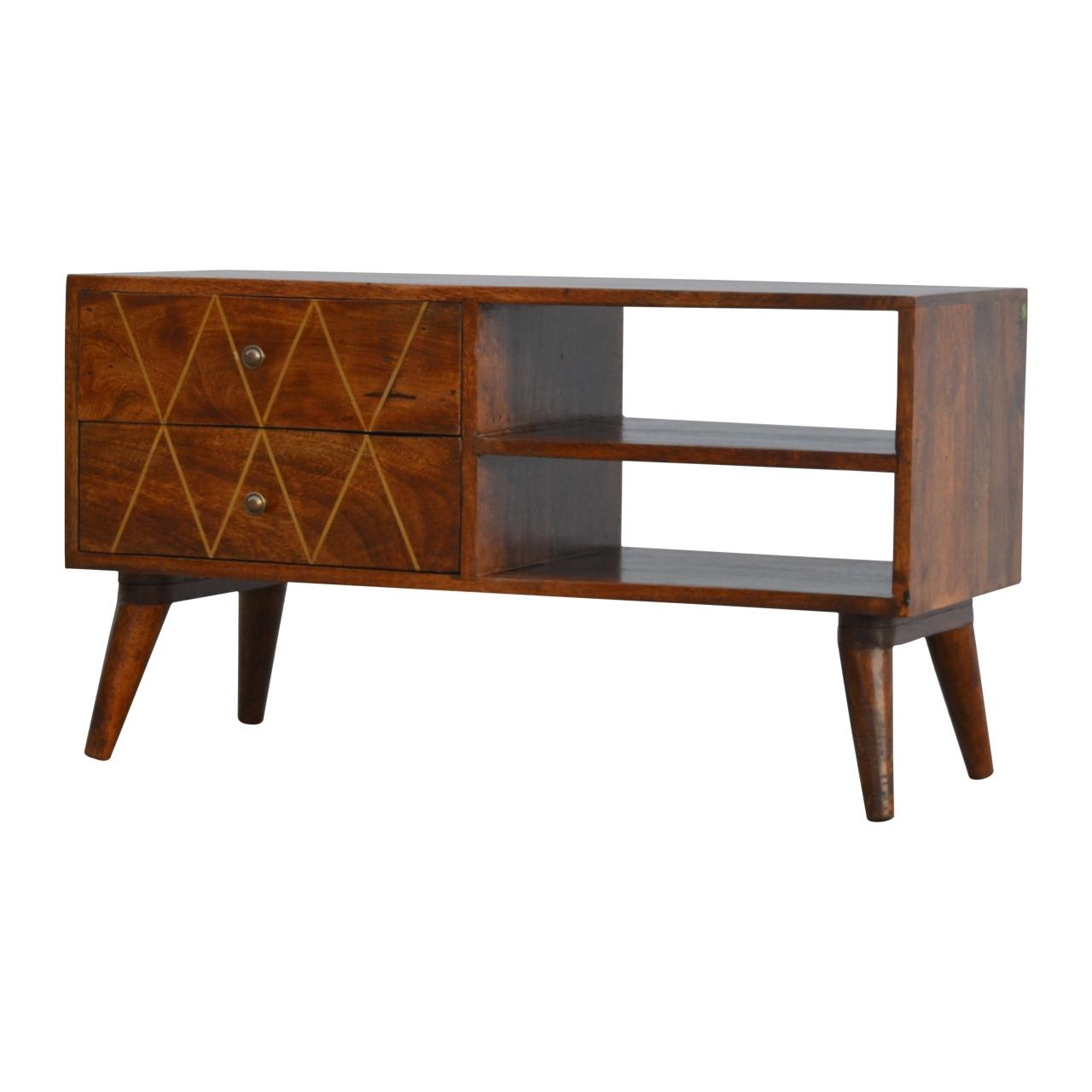 Geometric Brass Inlay Media Unit