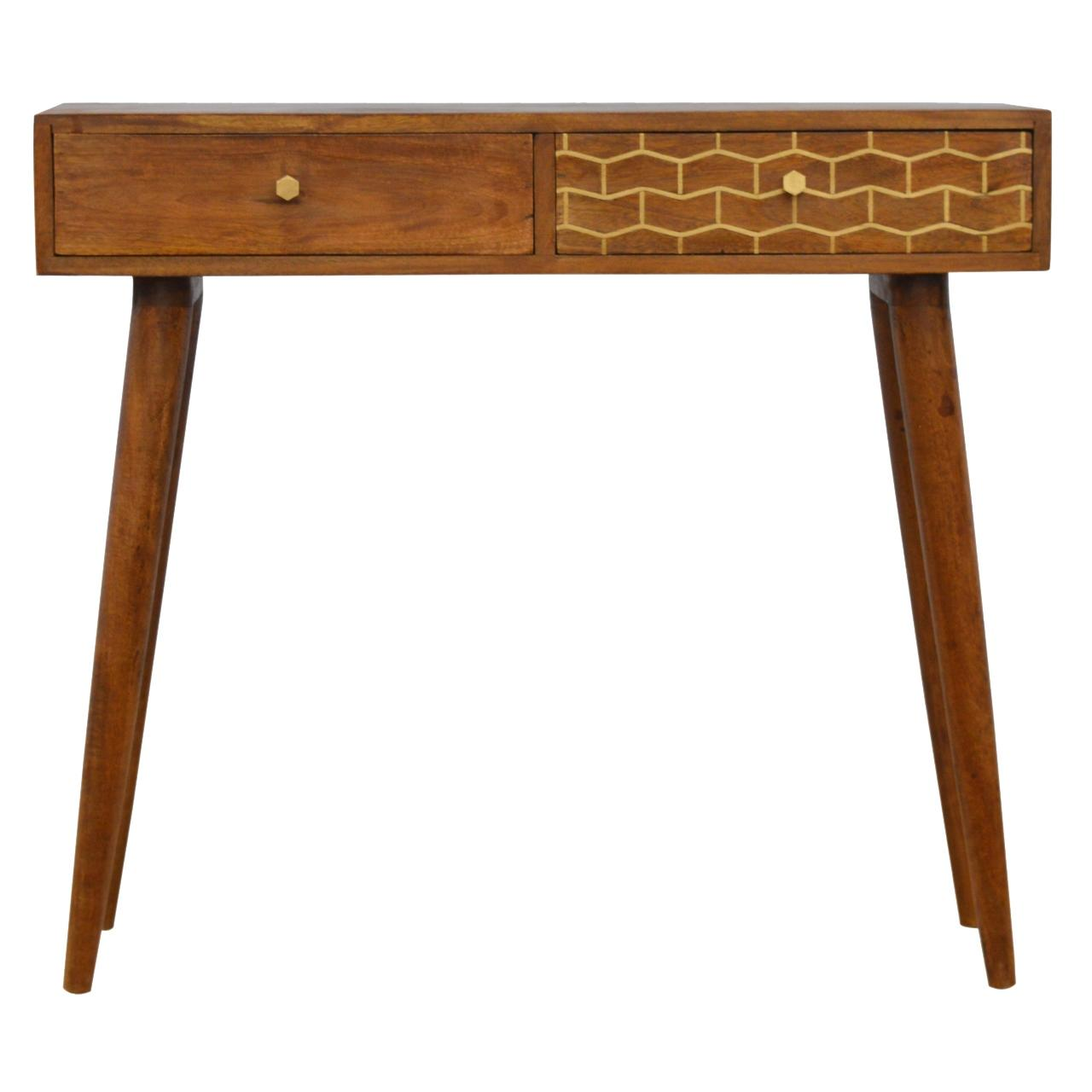Gold Pattern Drawer Console Table