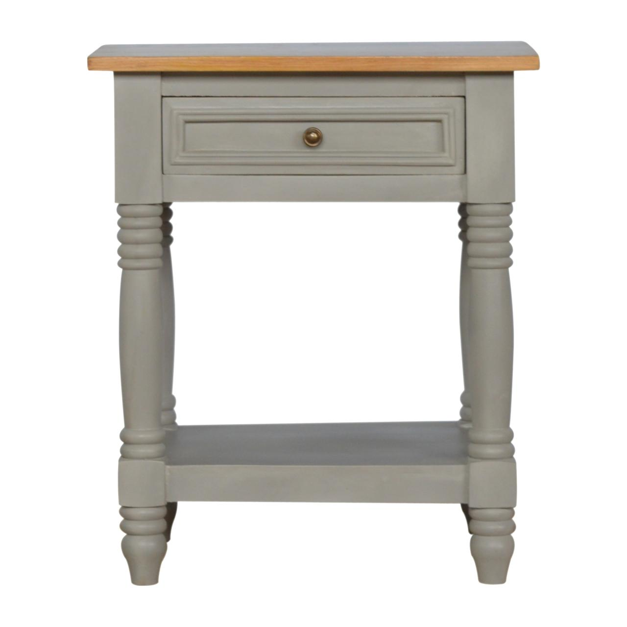 Grey Painted Bedside With Wooden Top